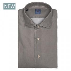 Mazzarelli Shirt Jersey Pique Taupe