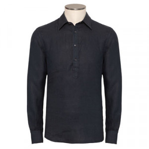 Aspesi Shirt Polo Linen Navy