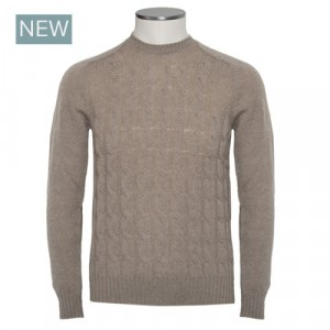 Barba Napoli Cable Crewneck Beige