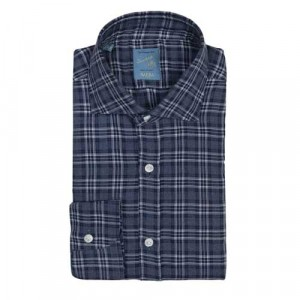 Barba Napoli Dandylife Flannel Check Navy-Blue