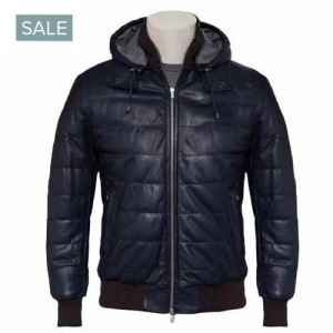 Barba Napoli Leather Jacket Anticato Blue