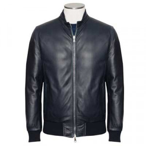 Barba Napoli Leather Down Coat Blue Navy
