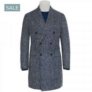 Barba Napoli Overcoat Check Blue Grey