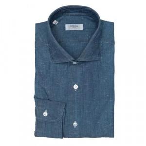 Barba Napoli Shirt Denim Structure Blue