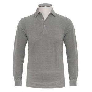 Barba Cotton Long Sleeve Polo Green