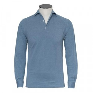 Barba Cotton Long Sleeve Polo Denim