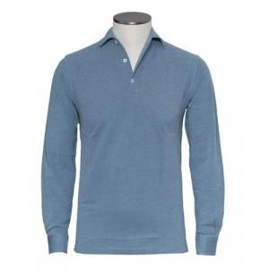Barba Cotton Long Sleeve Polo Denim