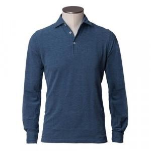 Barba Cotton Long Sleeve Polo Navy