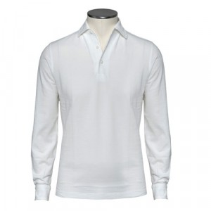 Barba Cotton Long Sleeve Polo White