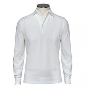 Barba Cotton Long Sleeve Polo White