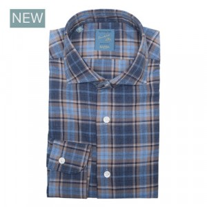 Barba Napoli Shirt Flannel Blue-Brown Check