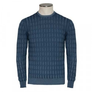 Barba Napoli Crewneck Cable Wool Blue