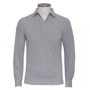 Barba Cotton Long Sleeve Polo Grey