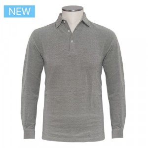 Barba Cotton Long Sleeve Polo Green