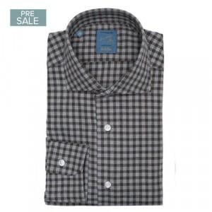Barba Napoli Shirt Flannel Grey-Brown Check