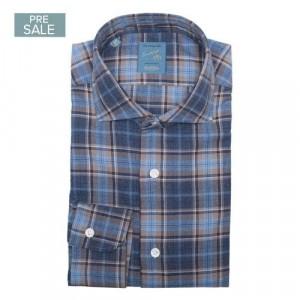 Barba Napoli Shirt Flannel Blue-Brown Check