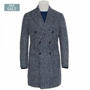 Barba Napoli Overcoat Check Blue Grey