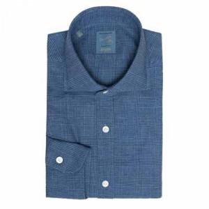Barba Napoli Dandylife Shirt Flannel Glen-Plaid Blue