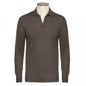 Barba Napoli Linen V-neck Polo Green
