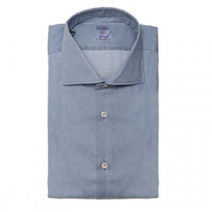 Mazzarelli Shirt Pique Washed Grey-Blue
