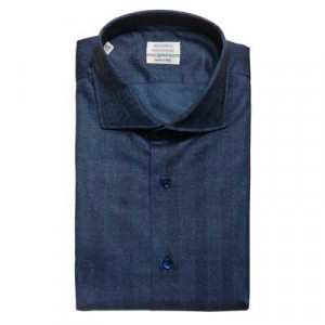 Mazzarelli Shirt Herringbone Blue