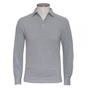 Barba Cotton Long Sleeve Polo Grey