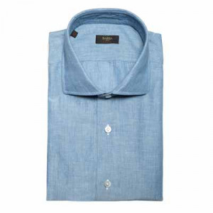 Barba Napoli Linen-Cotton Shirt Light Blue