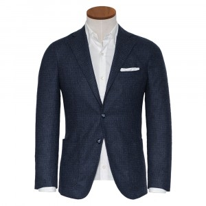 Barba Napoli Jacket Check Blue Grey