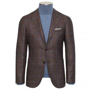 Barba Napoli Jacket Prince of Wales Brown-Blue