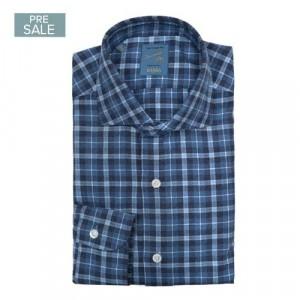 Barba Napoli Shirt Flannel Blue-Navy Check