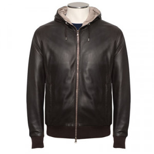 Barba Napoli Hooded Leather Bomber Brown
