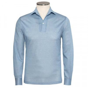 Barba Napoli Polo Longsleeve Light Blue