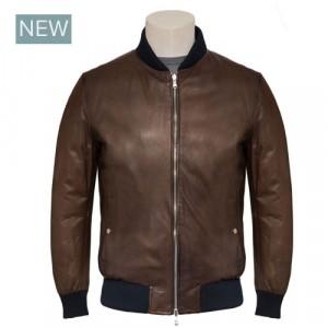 Barba Napoli Reversible Bomber Leather Anticato Brown