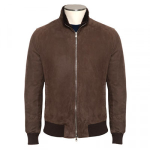 Barba Napoli Suede Down Bomber Brown