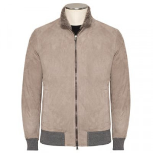 Barba Napoli Suede Down Bomber Taupe