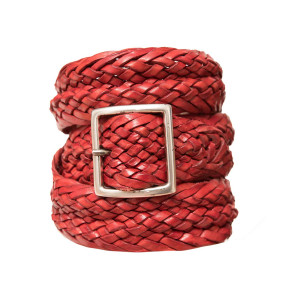Andrea d'Amico Braided Belt Red