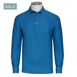 Drumohr Polo Jersey Cotton Blue