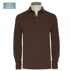 Drumohr Polo Garment Dyed Brown