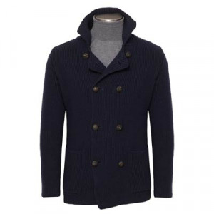 Drumohr Pea Coat Knitted Navy