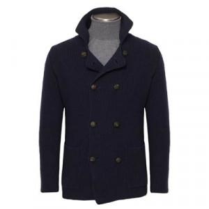 Drumohr Pea Coat Knitted Navy