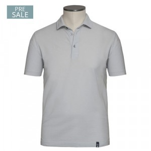 Drumohr Polo Garment Dyed Piquet Grey