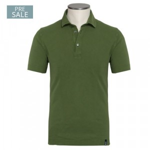 Drumohr Polo Garment Dyed Piquet Green