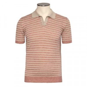 Drumohr Polo Striped Mauve