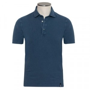Drumohr Polo Garment Dyed Blue