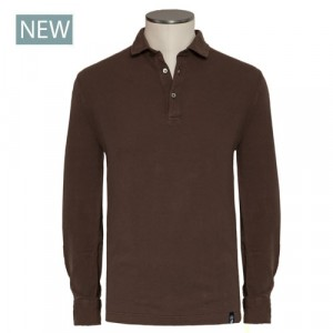 Drumohr Polo Garment Dyed Brown