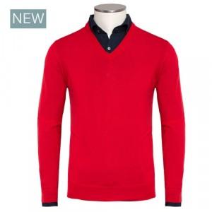 Drumohr V-Neck Tasmanian Wool Red
