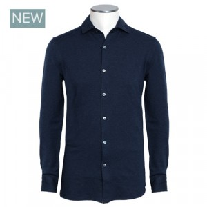 Drumohr Shirt Blue Herringbone