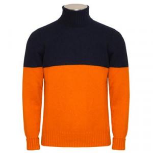 Drumohr Cashmere Roll Neck Blue-Orange