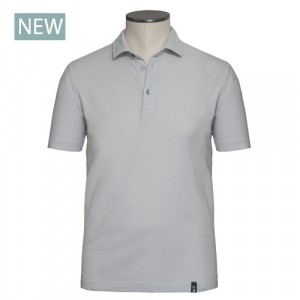 Drumohr Polo Garment Dyed Piquet Grey