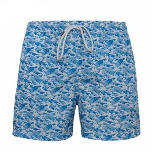 Fedeli Swim Trunk Whales Blue